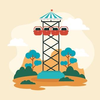 Parque de diversões radical com torre em queda livre