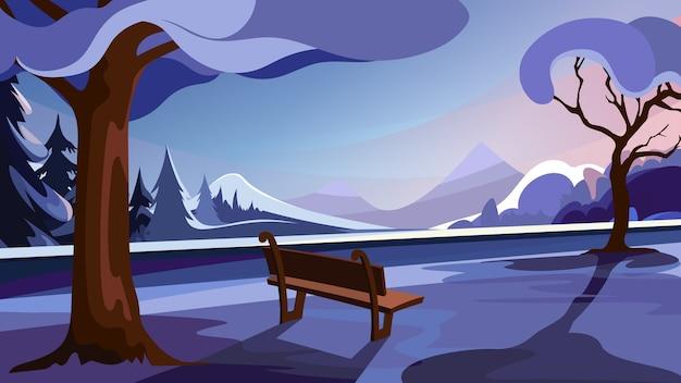 Parque de inverno em fundo de floresta e montanhas