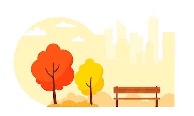 Parque de outono com árvores e um banco no fundo da cidade. ilustração vetorial