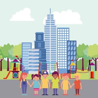 Parque de pessoas e cidade