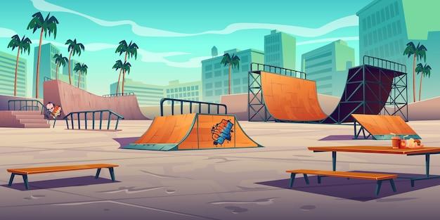 Parque de skate com rampas em cidade tropical
