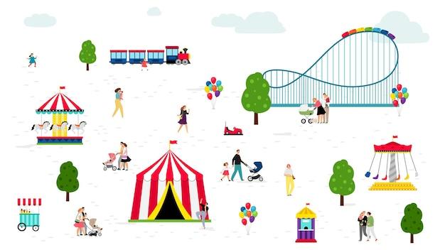 Parque de verão, diversões. a família passa tempo junta.