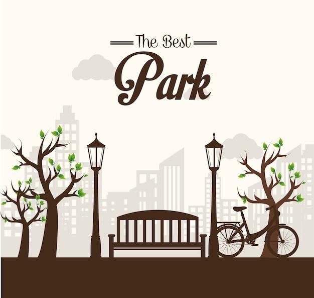 Parque design sobre ilustração vetorial de fundo branco