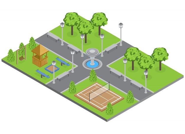 Parque do subúrbio com gramado de árvores e campo de esportes isométrico