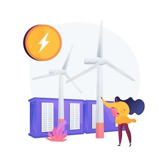 Parque eólico com moinhos de vento, obtendo energia de fonte natural. gerador de fluxo de vento, subestação transformadora não poluente, equipamento de produção de energia.