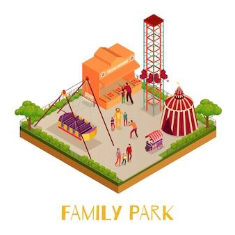 Parque familiar com atrações de letreiro de circo para adultos e crianças, fotografar ilustração isométrica