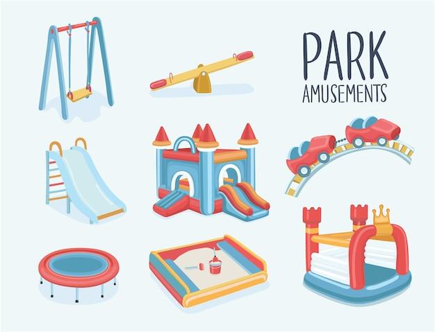 Parque infantil, balanços, escorregador para árvores com banco de areia com caixa de areia, castelo inflável