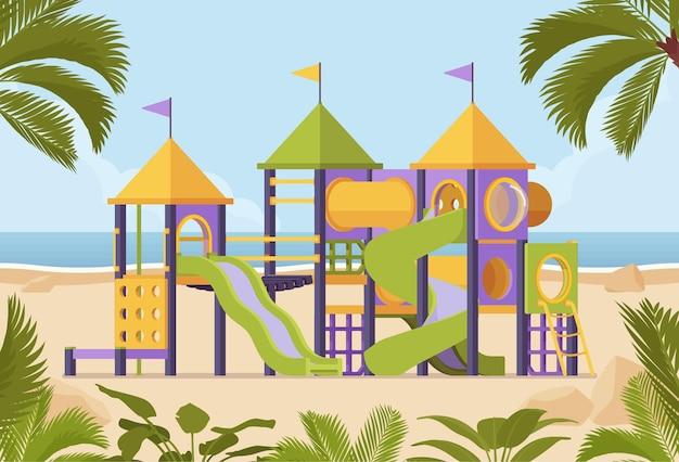 Parque infantil com equipamentos para jogos com escorregadores para recreação infantil e kit de diversão, eventos felizes ao ar livre e atração de fim de semana no resort para entretenimento familiar. ilustração em vetor estilo simples dos desenhos animados