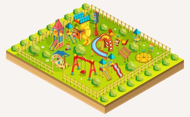 Parque infantil crianças isométrico. área de relaxamento. ilustração