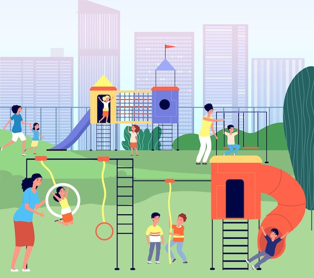 Parque infantil da cidade. parque do jardim de infância, bebê de verão com atividade ao ar livre da mãe. recreação da mãe da criança, ilustração vetorial de lazer familiar. paisagem de playground e jardim de infância para crianças