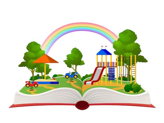 Parque infantil de livro aberto. jardim de fantasia, biblioteca de floresta verde de parque de diversões de aprendizagem, livros infantis criança devaneio paisagem plana vetor conceito