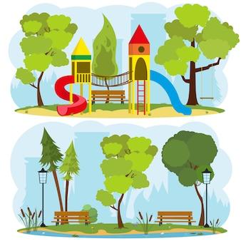 Parque infantil em um parque da cidade.