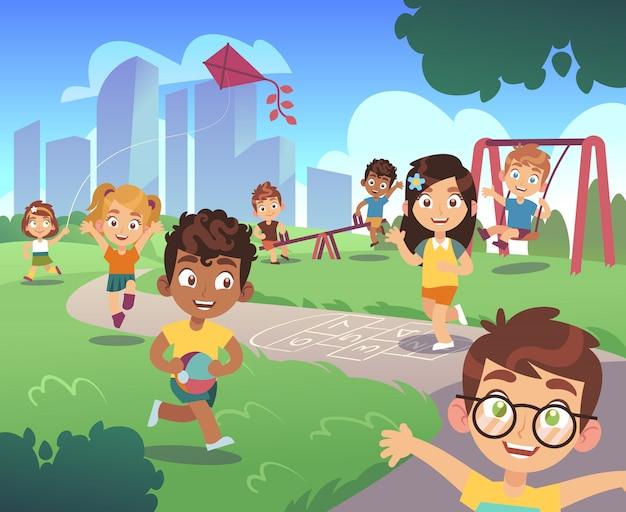 Parque infantil. jogar crianças natureza pré-escolar ao ar livre garoto jogando jardim diversão atividade entretenimento cartoon fundo