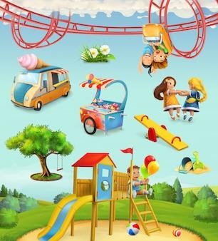 Parque infantil, jogos ao ar livre no parque, personagens e objetos conjunto de ícones