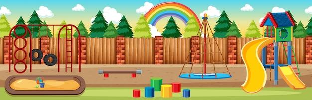 Parque infantil no parque com arco-íris no céu durante o dia em estilo desenho animado cena panorâmica