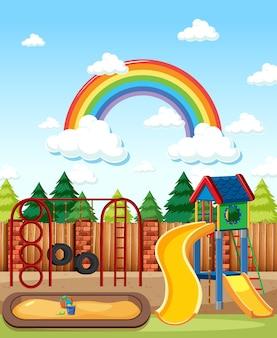 Parque infantil no parque com arco-íris no céu durante o dia, estilo cartoon