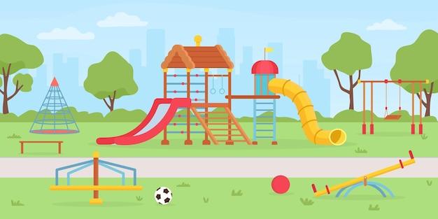 Parque infantil no parque. fundo de escola ou jardim de infância com caixa de areia, teatro, balanços e slides. paisagem de vetor de parque infantil verão crianças. ilustração de parque de jardim de infância ou escola de recreio