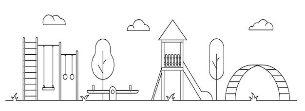 Parque infantil para crianças ilustração de arte de linha contorne a paisagem do parque com um escorregador de balanço