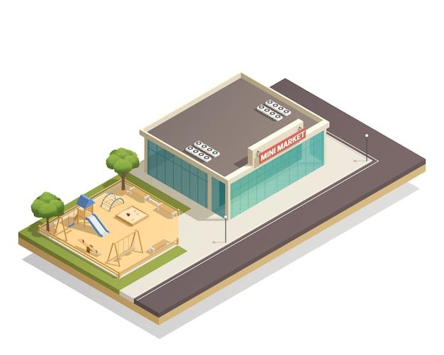 Parque infantil para crianças perto de composição isométrica de loja