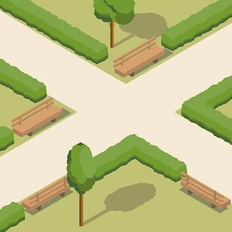 Parque isométrico com arbustos e bancos