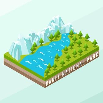 Parque nacional de banff isométrico