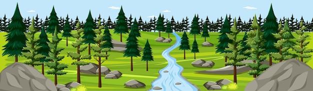 Parque natural com panorama da paisagem do rio