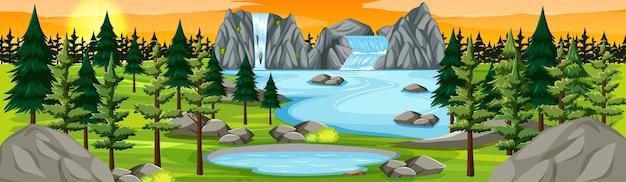 Parque natural com panorama de cachoeira na cena do pôr do sol
