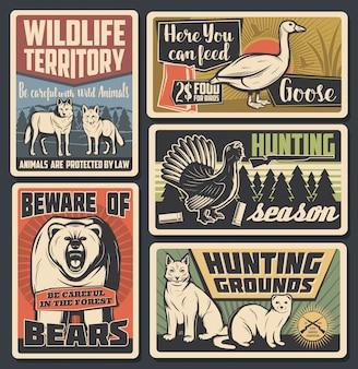 Parque natural de animais selvagens, temporada de caça de aves selvagens