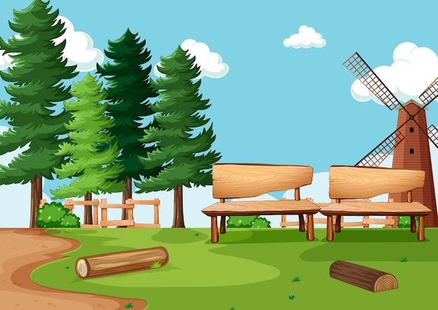 Parque natural ou cenário de fazenda com moinho de vento