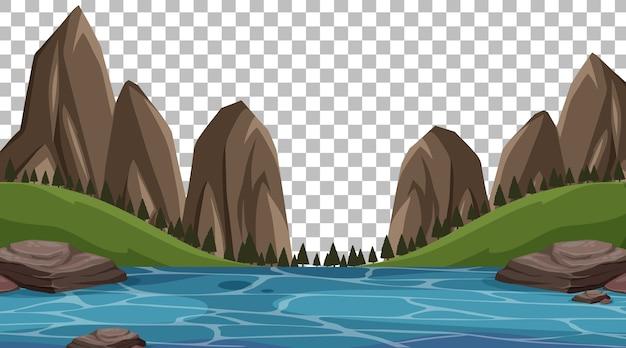 Parque natural vazio com paisagem de rio em fundo transparente