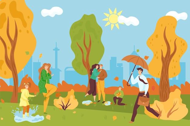 Parque no outono, ilustração vetorial. personagem de homem de mulher de desenhos animados andar na paisagem natural, menina brincar na poça. casal feliz, cara com guarda-chuva anda perto da árvore amarela do parque da cidade.