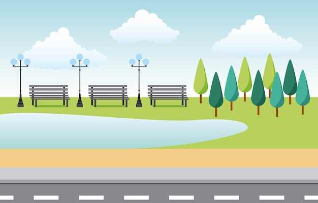Parque paisagístico e cidade