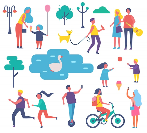 Parque pessoas atividades conjunto ilustração vetorial