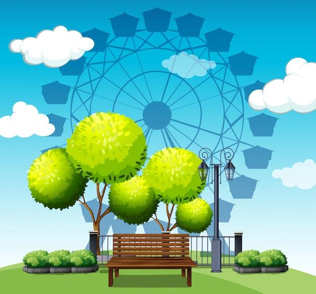 Parque público com roda gigante