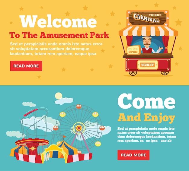 Parque público, conjunto de conceitos de ilustração plana de parque de diversões