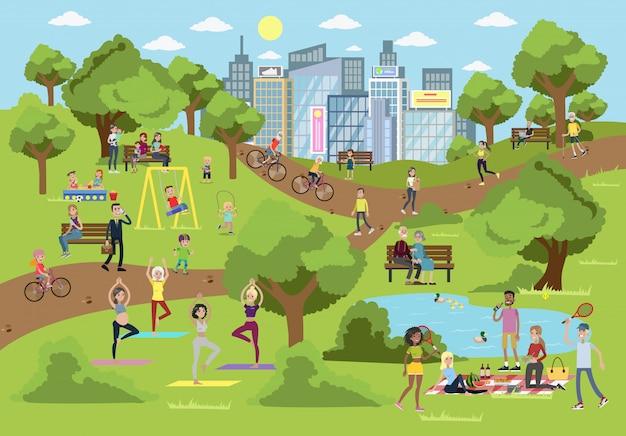 Parque público da cidade com pessoas praticando esportes, relaxando e brincando.