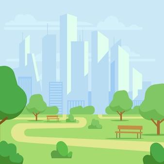 Parque público da cidade dos desenhos animados com ilustração da arquitectura da cidade dos arranha-céus. paisagem do parque verde