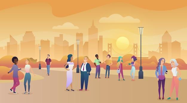 Parque público da cidade no pôr do sol. comunicação de pessoas, ilustração de tempo desfrutando