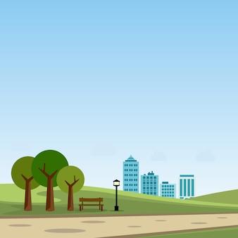 Parque público na ilustração vetorial cidade