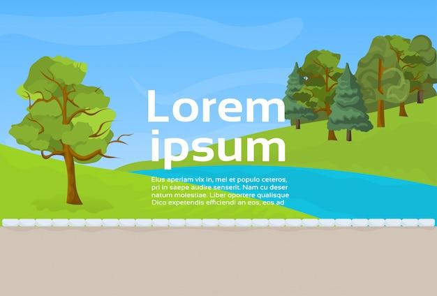 Parque público rio ou lago, gramado verde e árvores no fundo do modelo