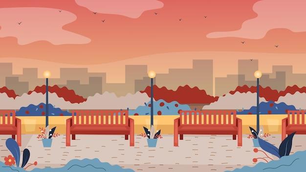 Parque público vazio com bancos, postes de luz e a paisagem urbana. estilo simples dos desenhos animados.