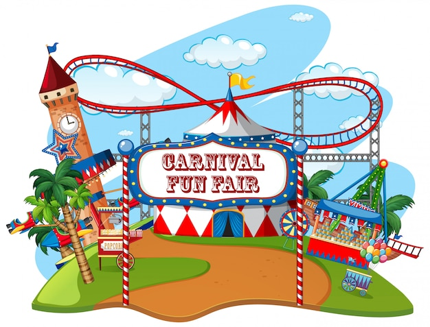 Parque temático da feira de diversões no fundo