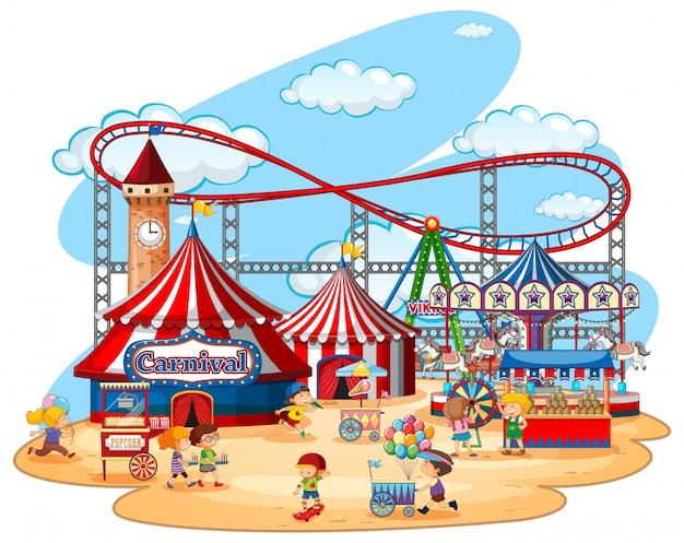 Parque temático da feira de divertimento no branco