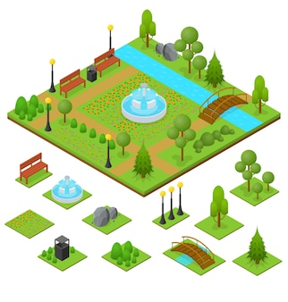 Parque urbano e área definida em vista isométrica