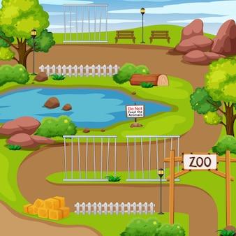 Parque zoológico com árvores e lagoa
