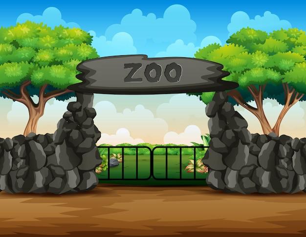 Parque zoológico com portão grande
