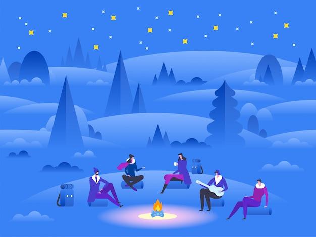 Parques e ao ar livre. grupo de amigos perto da fogueira