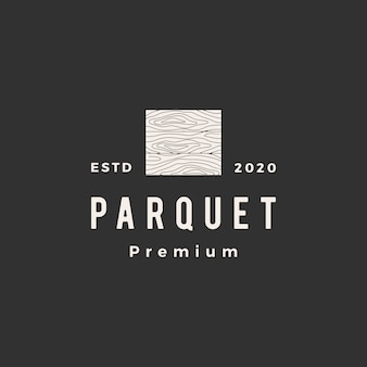 Parquet de madeira piso vinil granito madeira telha hipster logotipo vintage icon ilustração Vetor Premium