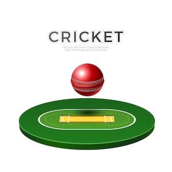 Parquinho de críquete realista com campo de esporte com bola de couro para design esportivo
