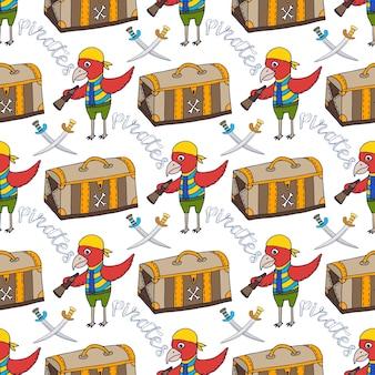 Parrot doodle fundo sem costura padrão com caixa de pirata. impressão infantil
